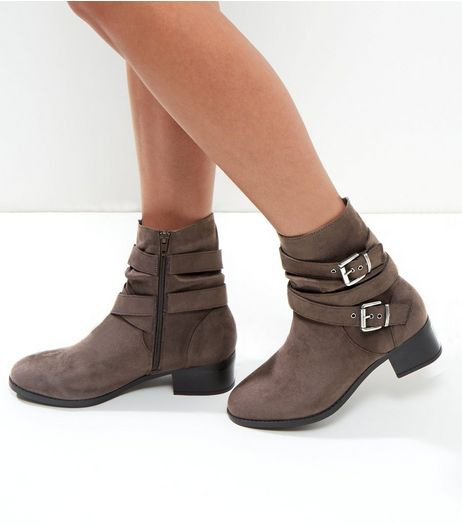 Wide Fit Grey Buckle Strap Ankle Boots | New Look