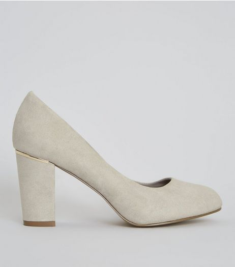Wide Fit Grey Suedette Metal Trim Court Shoes  | New Look