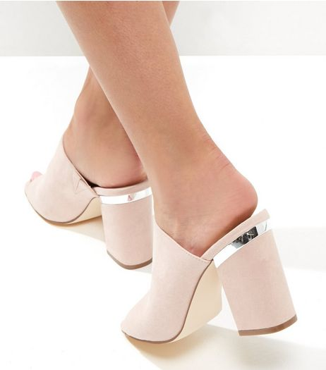 Pink Suedette Metal Trim Block Heel Mules | New Look