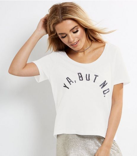 White Ya But No Print Top  | New Look