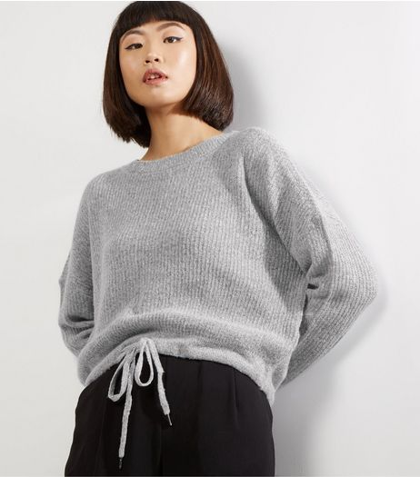 Noisy May Grey Tie Hem Long Sleeve Knitted Jumper  | New Look