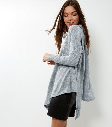Pale Grey Asymmetric Cowl Neck Top | New Look