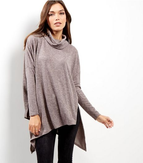 Shell Pink Asymmetric Cowl Neck Top | New Look