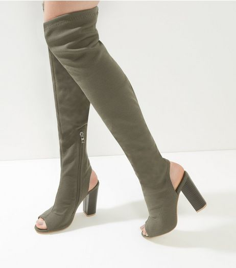 Khaki Peep Toe Over The Knee Block Heel Boots | New Look