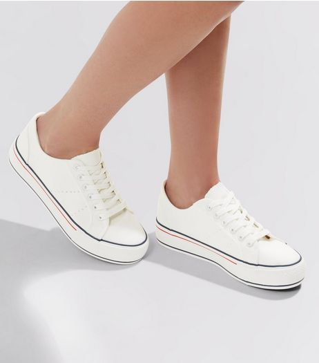 White Contrast Stripe Sole Trainers | New Look
