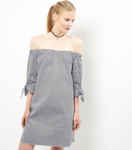 Grey Stripe Tie Sleeve Bardot Neck Dress | New Look