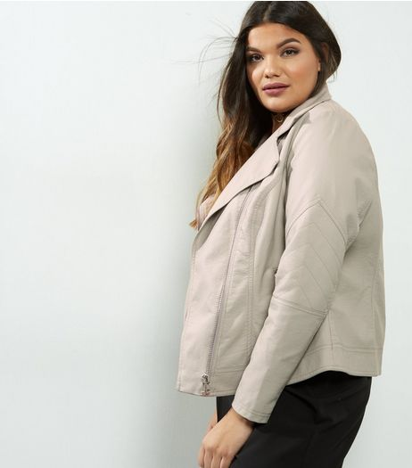 Curves Grey Leather-Look Jacket | New Look