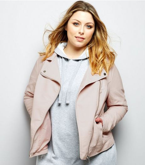 Curves Pink Leather-Look Jacket  | New Look