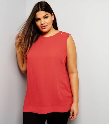 Curves Red Button Shoulder Jersey Back Sleeveless Top | New Look