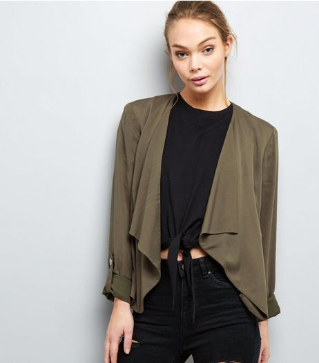 Khaki Waterfall Rolled Sleeve Blazer  | New Look