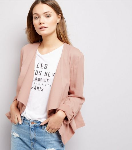 Shell Pink Waterfall Rolled Sleeves Blazer  | New Look
