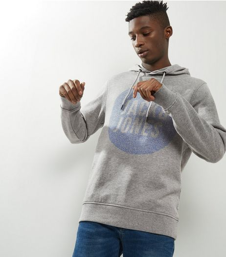 Jack & Jones Pale Grey Circle Print Hoodie  | New Look