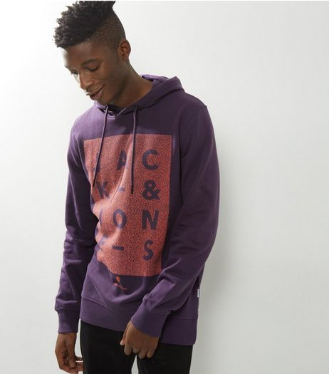 Jack & Jones Blue Box Print Hoodie | New Look