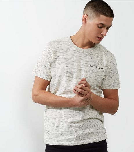 Jack & Jones White Marl T-Shirt | New Look