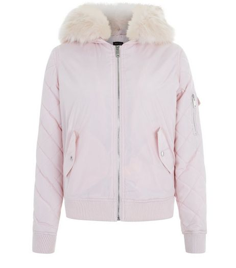 Teens Shell Pink Faux Fur Trim Hooded Bomber Jacket | New Look
