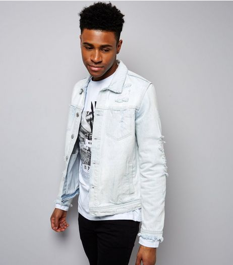 Blue Light Washed Ripped Denim Jacket | New Look