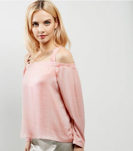 Petite Shell Pink Sateen Cold Shoulder Top | New Look