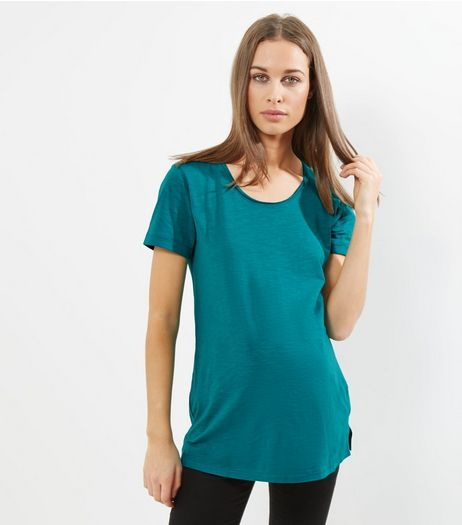 Maternity Dark Green Scoop Neck T-Shirt | New Look