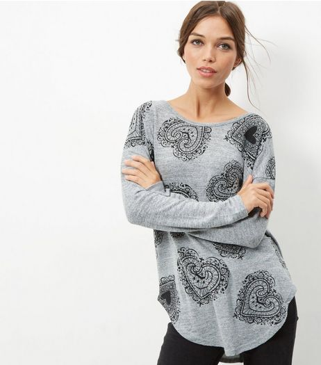 Grey Heart Print Zip Back Top | New Look