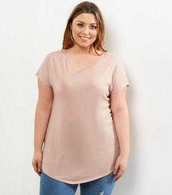 Curves Pink Split Side T-Shirt