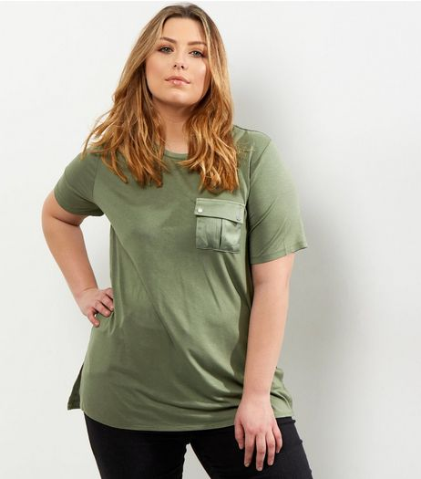 Curves Khaki Pocket Front T-Shirt | New Look