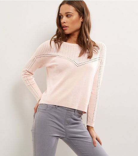 Pink Cut Out Mesh Panel Long Sleeve Jumper  | New Look