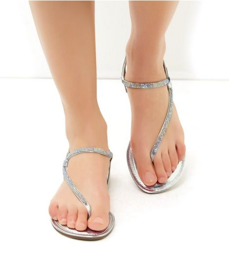 Silver Sling Back Embellished Trim Flip Flops | New Look