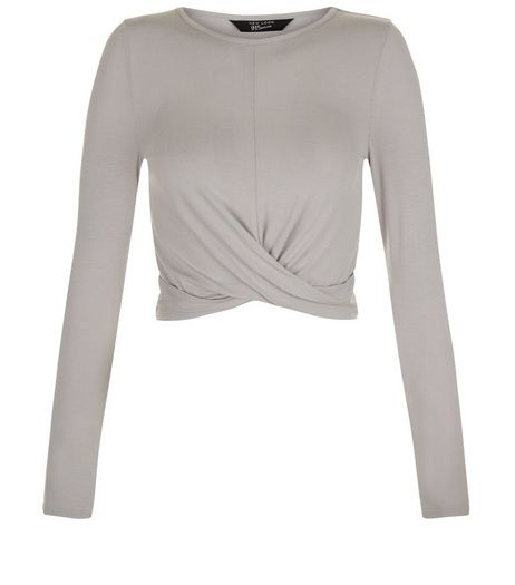 Teens Pale Grey Crew Neck Twist Front Top | New Look