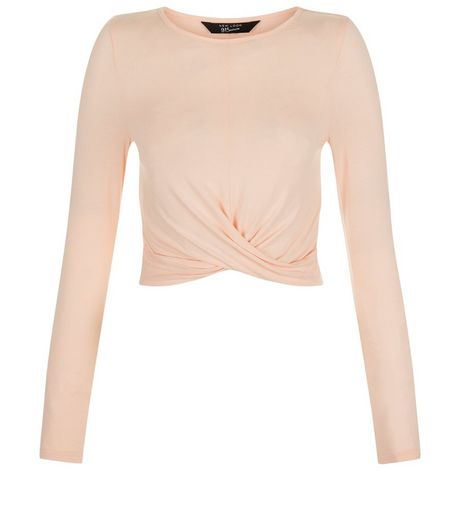 Teens Shell Pink Crew Neck Twist Front Top | New Look
