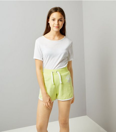 Teens Neon Green Brooklyn 98 Print Shorts | New Look
