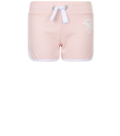 Teens Shell Pink Brooklyn 98 Print Shorts | New Look