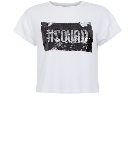 Teens White Squad Goals 2 Way Magic Sequin T-shirt | New Look