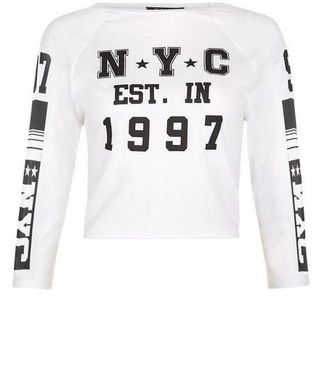 Teens White NYC 1997 Print Raglan Sleeve T-shirt | New Look