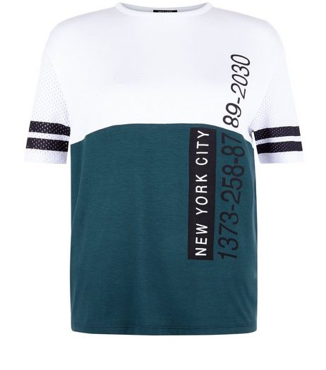 Teens Dark Green Colour Block Mesh Sleeve T-shirt | New Look
