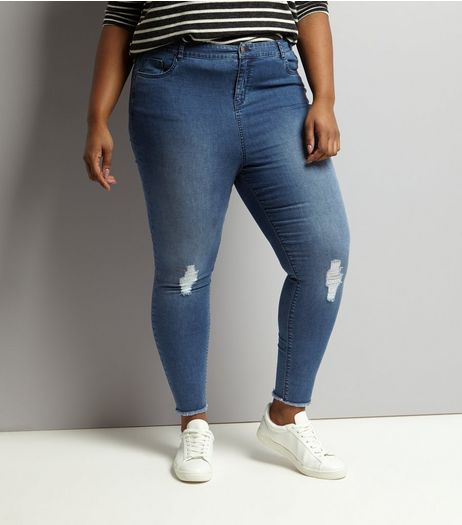 Curves Blue Ripped Skinny Jeans | New Look