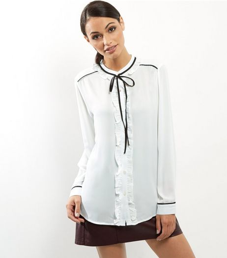 White Contrast Neck Tie Frill Trim Shirt | New Look