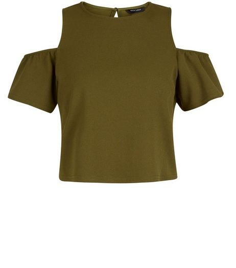 Teens Khaki Crepe Cold Shoulder Flutter Sleeve Top | New Look
