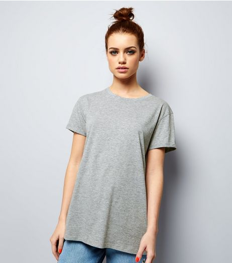 Petite Grey Boyfriend T-shirt | New Look