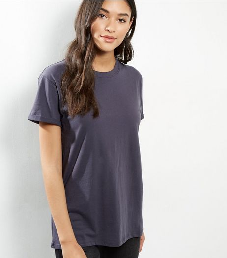 Petite Dark Grey Boyfriend T-shirt | New Look