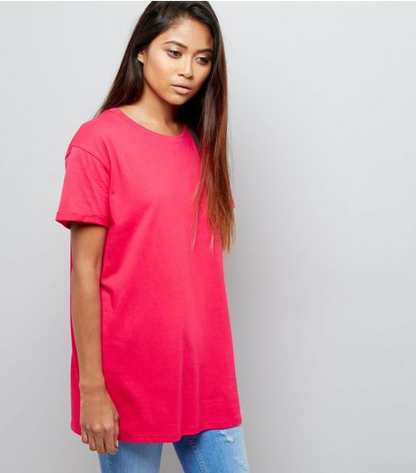 Petite Bright Pink Boyfriend T-shirt | New Look