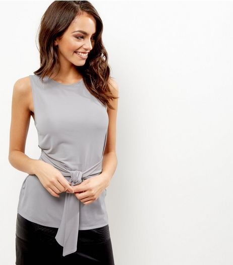 Pale Grey Tie Waist Sleeveless Top | New Look
