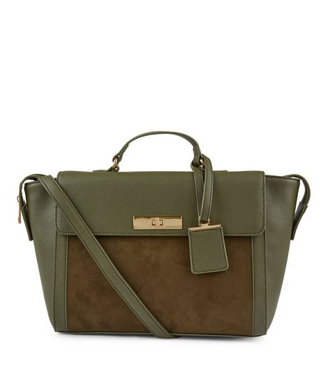 Khaki Suedette Panel Satchel  | New Look