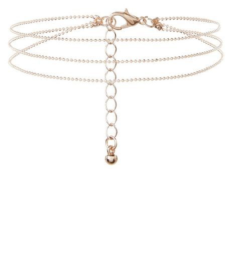 Rose Gold Layered Chain Anklet | New Look