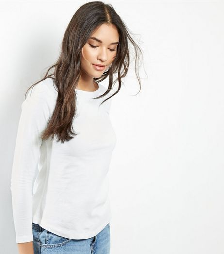 Petite White Long Sleeve T-Shirt | New Look