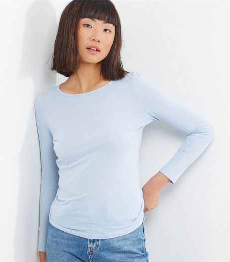 Petite Blue Long Sleeve T-Shirt | New Look