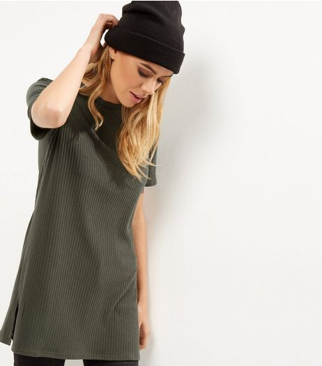 Khaki Ribbed Longline T-Shirt  | New Look