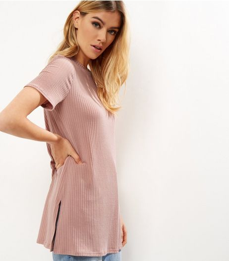 Shell Pink Ribbed Longline T-Shirt  | New Look