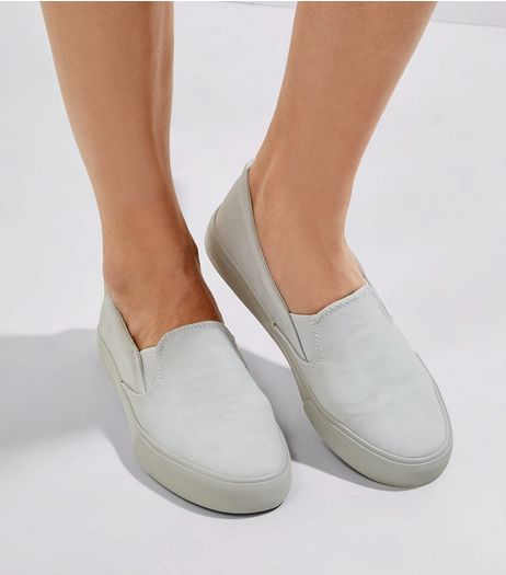 Grey Suedette Slip On Plimsolls | New Look