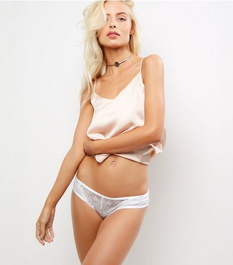 White Lace Strappy Back Brazilian Briefs | New Look