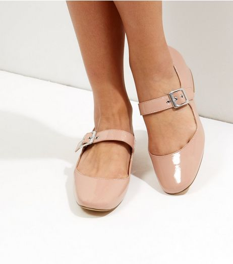 Mid Pink Patent Buckle Strap Block Heel Pumps | New Look